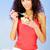 jeune · fille · jeunes · adolescente · rouge · coeur · isolé - photo stock © imarin