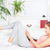 gelukkig · vrouw · laptop · sofa · home · computer - stockfoto © imarin