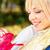 fiatal · nő · bevásárlószatyor · szeretet · üveg · vásárlás · csók - stock fotó © imarin