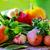 ternera · solomillo · patatas · a · la · parrilla · rojo · madera - foto stock © inaquim
