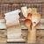 kitchen wooden utensils in retro bucket with blank paper scroll stock photo © inxti