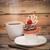 白 · プレート · カップ · コーヒー · 木材 - ストックフォト © inxti