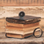 stack of antique books with compass and magnifying glassl on woo stock photo © inxti