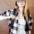 retrato · elegante · casual · menina · óculos · de · sol · parede - foto stock © iordani