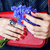 close up portrait of girls manicured hands holding small cute red handbag and cornflower bouquet li stock photo © iordani