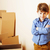 little cute boy in empty room remoove to new house home alone stock photo © iordani