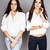 two sisters twins posing making photo selfie dressed same whit stock photo © iordani