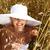 fiatal · divat · lány · fehér · kalap · zöld - stock fotó © iordani
