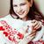 jovem · bastante · morena · menina · natal · ornamento - foto stock © iordani
