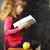 mooi · meisje · groene · appel · school · foto · vrouw - stockfoto © iordani