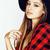 genç · güzel · esmer · kız · şapka - stok fotoğraf © iordani