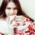 fiatal · csinos · barna · hajú · lány · karácsony · dísz - stock fotó © iordani