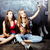 back to school after summer vacations two teen real girls in classroom with blackboard painted toge stock photo © iordani