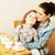 genç · anne · kız · mutfak · içme · çay - stok fotoğraf © iordani