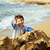 kicsi · fiú · tenger · szőke · egyéves · ül - stock fotó © iordani