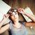 portre · çılgın · öğrenci · kız · gözlük · kitaplar - stok fotoğraf © iordani