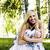 boldog · szőke · fiatal · nő · park · mosolyog · virágmintás - stock fotó © iordani