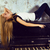 pretty young blond real girl at piano in old style rusted interi stock photo © iordani