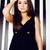 portret · mooie · vrouw · weinig · zwarte · jurk · glimlachend · jonge · vrouw - stockfoto © iordani