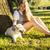 genç · çekici · sarışın · kadın · oynama · köpek - stok fotoğraf © iordani