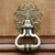 antique knocker with pattern on wooden brown door close up macro stuff concept stock photo © iordani