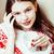jonge · mooie · brunette · meisje · christmas · ornament - stockfoto © iordani