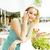 gelukkig · blond · vrouw · praten · telefoon - stockfoto © iordani