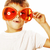 little cute boy in orange sunglasses pointing isolated close up stock photo © iordani