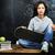 jonge · cute · tienermeisje · klas · Blackboard · tabel - stockfoto © iordani