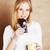 genç · sevimli · sarışın · kız · yeme · çikolata - stok fotoğraf © iordani