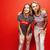 two best friends teenage girls together having fun posing emotional on red background besties happ stock photo © iordani