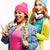 diverse nation girls group two diverse rase teenage friends company cheerful having fun happy smil stock photo © iordani