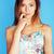 jasne · dziewczyna · różowy · włosy · lizak - zdjęcia stock © iordani