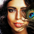 jonge · gevoelig · brunette · vrouw · pauw · veer - stockfoto © iordani