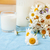 simply stylish wooden kitchen with bottle of milk and glass on table summer flowers camomile healt stock photo © iordani