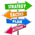 strategy tactics plan action arrow signs achieve goal 3d stock photo © iqoncept