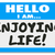 hello i am enjoying life name tag sticker relaxation vacation re stock photo © iqoncept