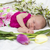baby girl of one month in pink with spring flowers stock photo © iriana88w