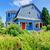 blue house exterior with red trim stock photo © iriana88w