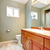 Green clean new bathroom with wood cabients. stock photo © iriana88w