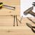 werk · tool · oude · meetlint · hamer · roestige - stockfoto © ironstealth