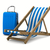 deckchair and luggage on white background isolated 3d image stock photo © iserg