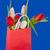 színes · tulipánok · papírzacskó · fából · készült · piros · fehér - stock fotó © ivonnewierink