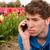 triste · coup · de · téléphone · homme · fleur · champs - photo stock © ivonnewierink