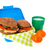 healthy brown bread roll in blue lunch box with fruit and milk stock photo © ivonnewierink