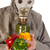 man with gas mask and vegetables stock photo © ivonnewierink