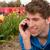 coup · de · téléphone · homme · positif · fleur · champs - photo stock © ivonnewierink
