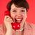 肖像 · 面白い · 少女 · 古い · 電話 · 十代の少女 - ストックフォト © ivonnewierink
