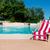 şezlong · yüzme · havuzu · gözlük · havlu · plaj · su - stok fotoğraf © ivonnewierink
