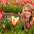 blond · Mädchen · Ernte · Blumen · Tulpen - stock foto © ivonnewierink
